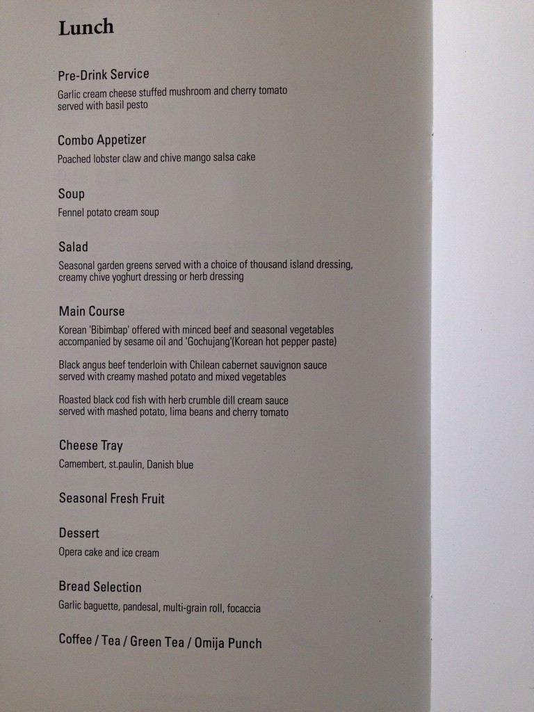 Korean Air Menu