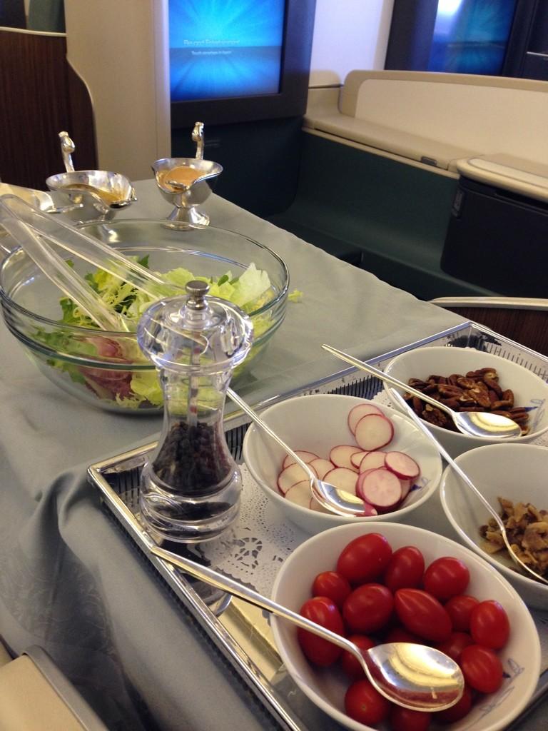 Korean Air First Class Review Salad Cart