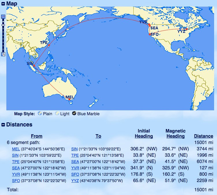 Aeroplan Routing from Australia to North America