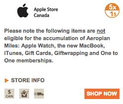 Aeroplan eStore Apple