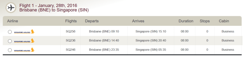 Singapore Airlines Business Class Brisbane to Singapore