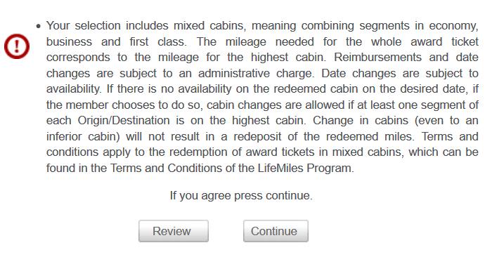LifeMiles Mixed Cabin Warning
