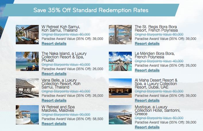 SPG 35% Off Redemption Properties