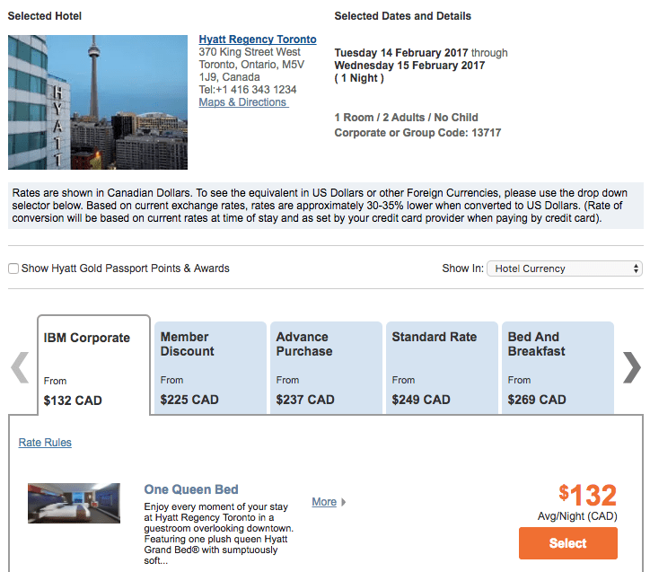 Hotel Corporate Codes - Hyatt Regency Toronto