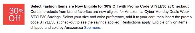 Amazon STYLE30 Discount
