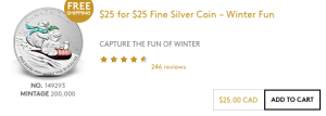 Mint $25 for $25 Coin
