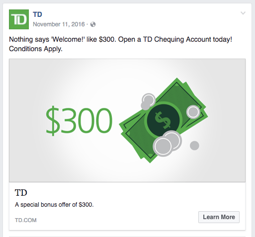 TD Canada Trust $300 Bank Account Bonus