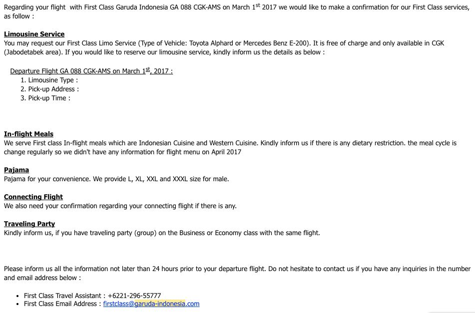 Garuda First Class Email