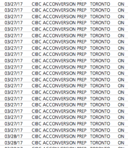 CIBC AC Conversion Credit Card Statement