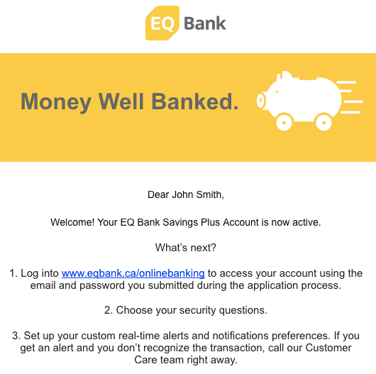 EQ Bank Review - Welcome Email