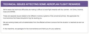 Aeroplan Booking Difficulties
