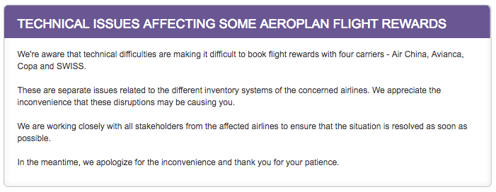 Aeroplan Booking Difficulties