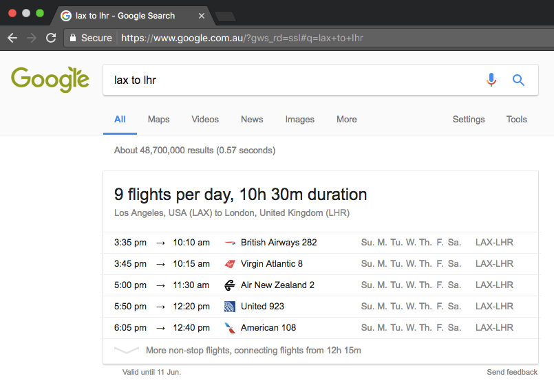 Google Flights Schedules