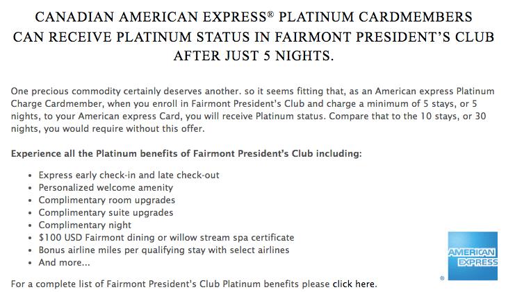 Fairmont Platinum Fastrack - AMEX