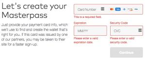Masterpass Registration