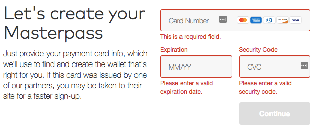 Masterpass Registration