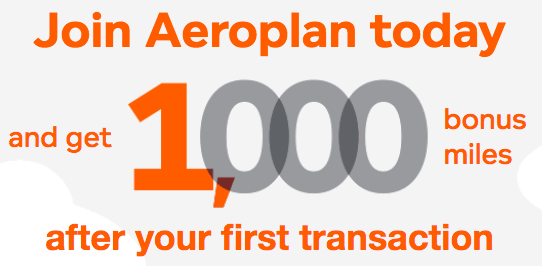 1,000 Free Aeroplan Miles for New Accounts