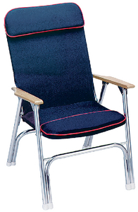 PADDED DECK CHAIR W/RED PIPING