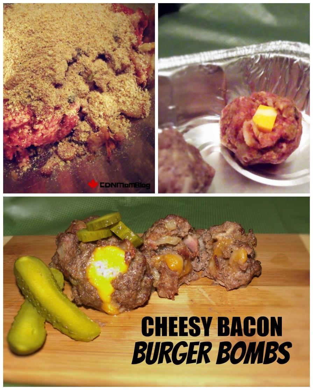 Cheesy Bacon Burger Bombs via CanadianMomBlog.ca