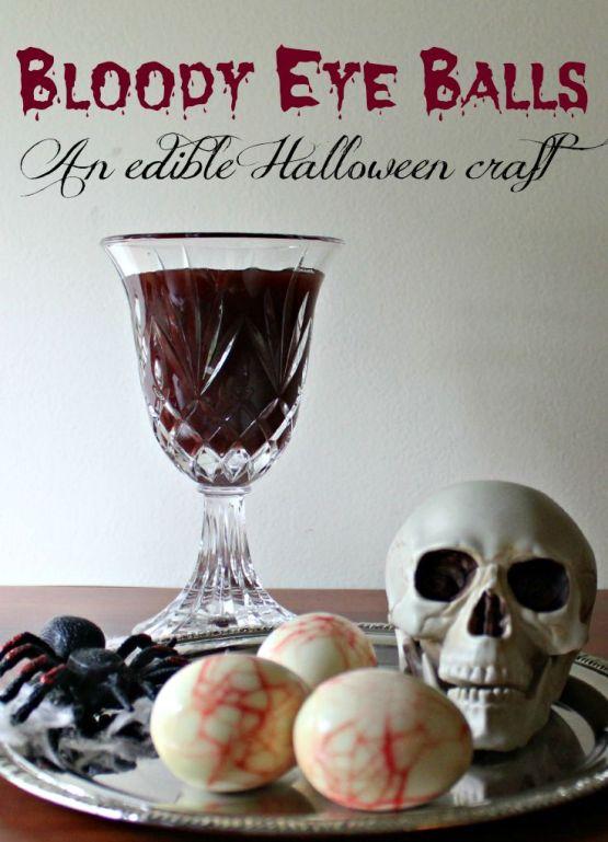 Edible Bloody Eyeballs from 30 Halloween Food & Treats Kids Will LOVE