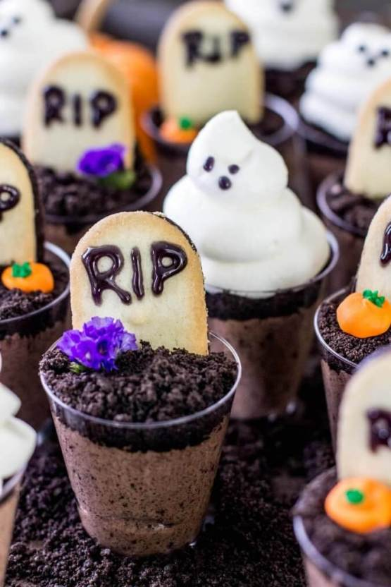 Ghosts in the Graveyard Dessert Shooters from 30 Halloween Food & Treats Kids Will LOVE