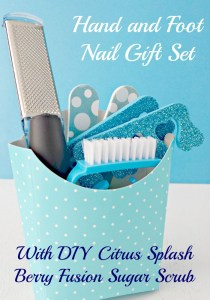 Hand and Foot Nail Kit with Citurs Berry Sugar Scrub and Citrus Bath Salts - 15 Handmade Christmas Gift Ideas from CanadianMomBlog.ca