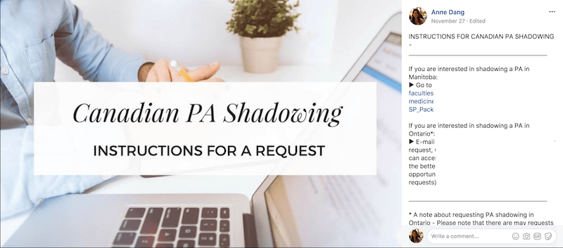 Canadian PA Shadowing - Instructions for a Request