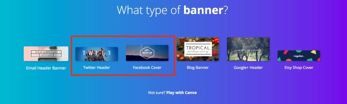 Select the type of Social Media banner you want to create