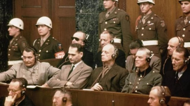The defendants at the Nuremberg trials. Front row (l to r): Hermann Goering, Rudolf Hess, Joachim Von Ribbentrop, Wilhelm Keitel and Ernst Kaltenbrunner. Back row (l tor): Karl Doenitz, Erich Raeder, Baldur von Schirach and Fritz Sauckel © Bettmann