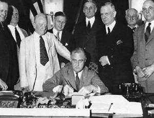 FDR signs Glass-Steagall into law in 1933