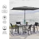 canvas rectangular patio umbrella grey 6 ft x 9 ft