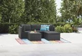for living wicker patio sectional set with cushions 3 pc