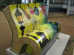 Sherlock Holmes bench, front