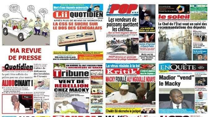 Image des titres de la presse sénégalaise du jeudi 25 Novembre 2020.