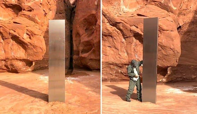 Image du mystérieux monolithe de métal aux Etats-unis.