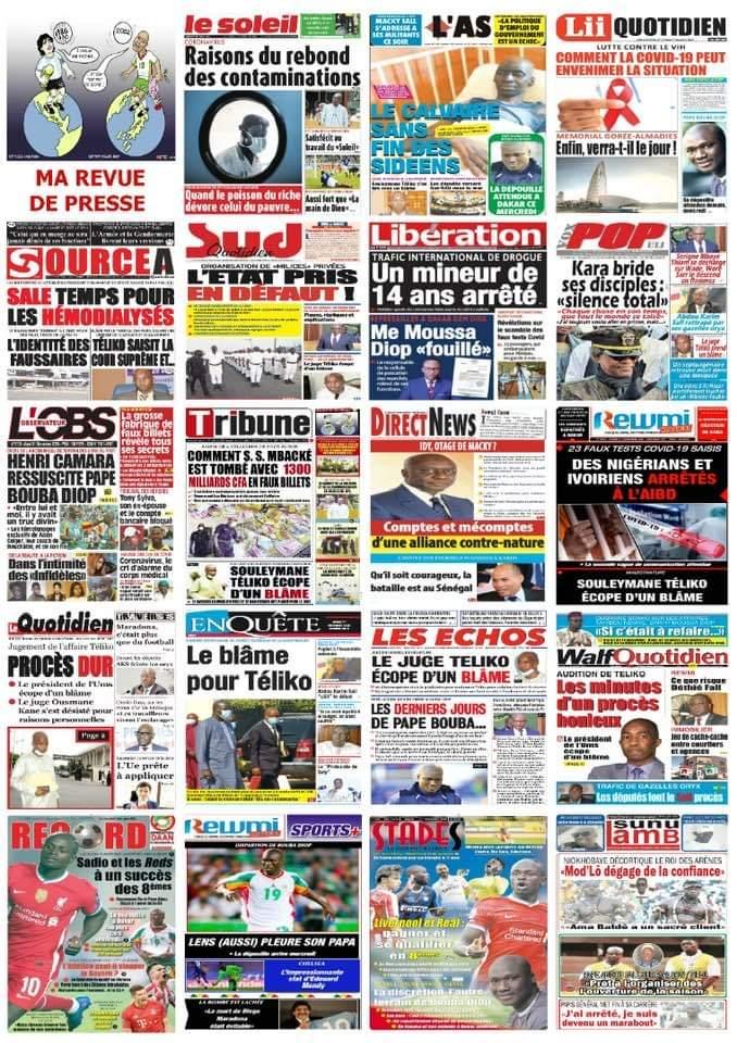 Imaged 'illustration les quotidiens mardi 1er décembre 2020.