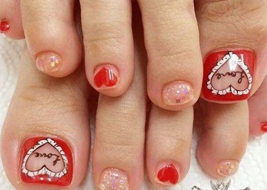 Diseño de Uñas para pies en San Valentin 22