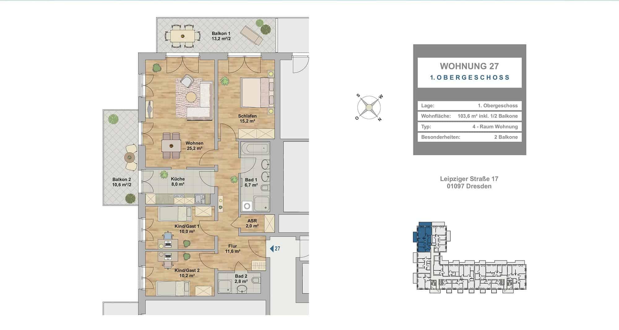 Hafencity Dresden  4 Zimmer Wohnung  10360 m