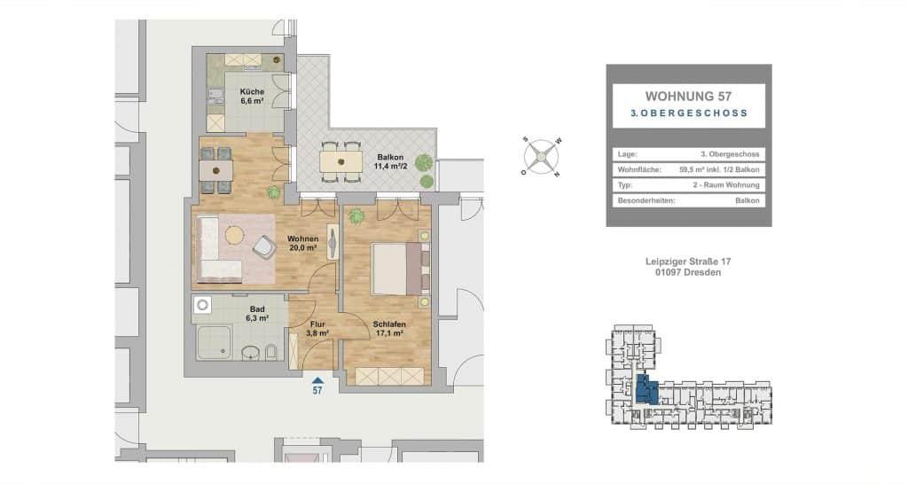 Hafencity Dresden  2 Zimmer Wohnung  5950 m  Canaletto Immobilien