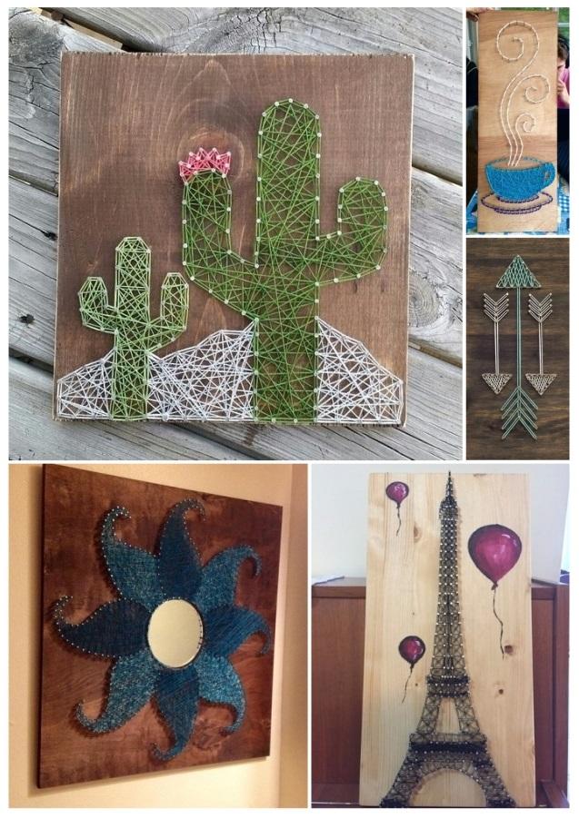 Ideas para decorar cuadros con clavos e hilos tensados