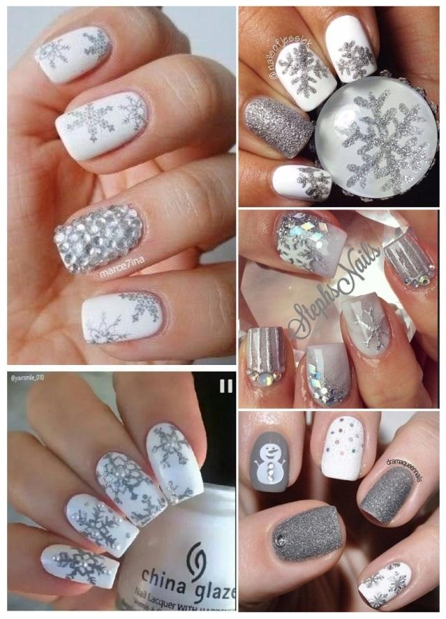 decoracion de uñas con copos de nieve