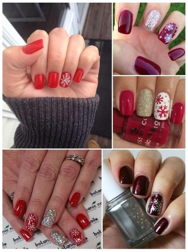 imágenes de uñas con copos de nieve