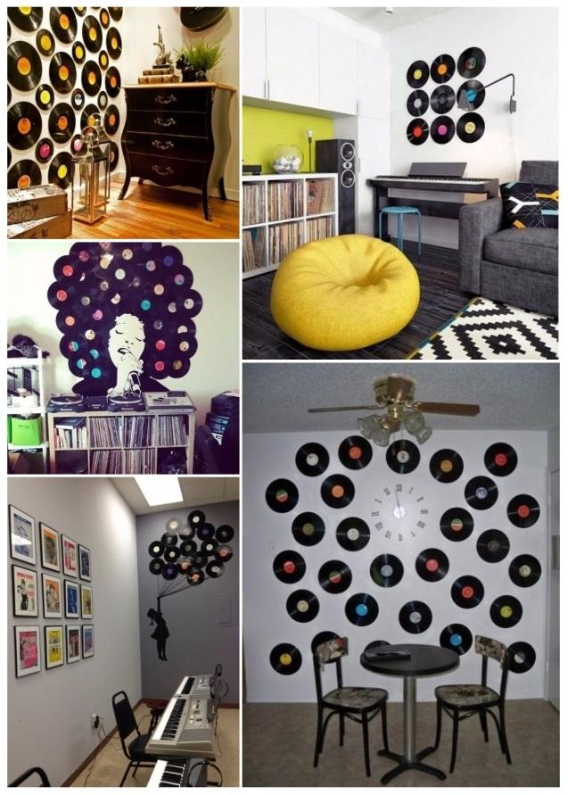 como decorar una fiesta con discos de vinilo