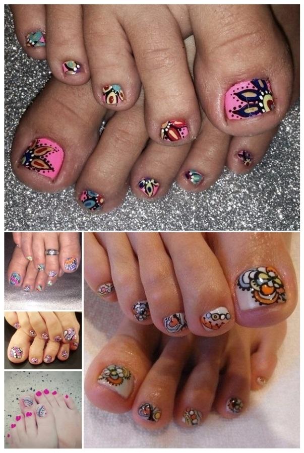 uñas decoradas con mandalas en los pies