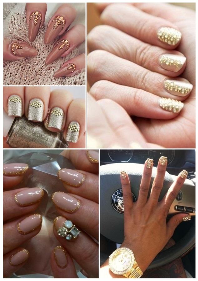 uñas decoradas con piedras doradas