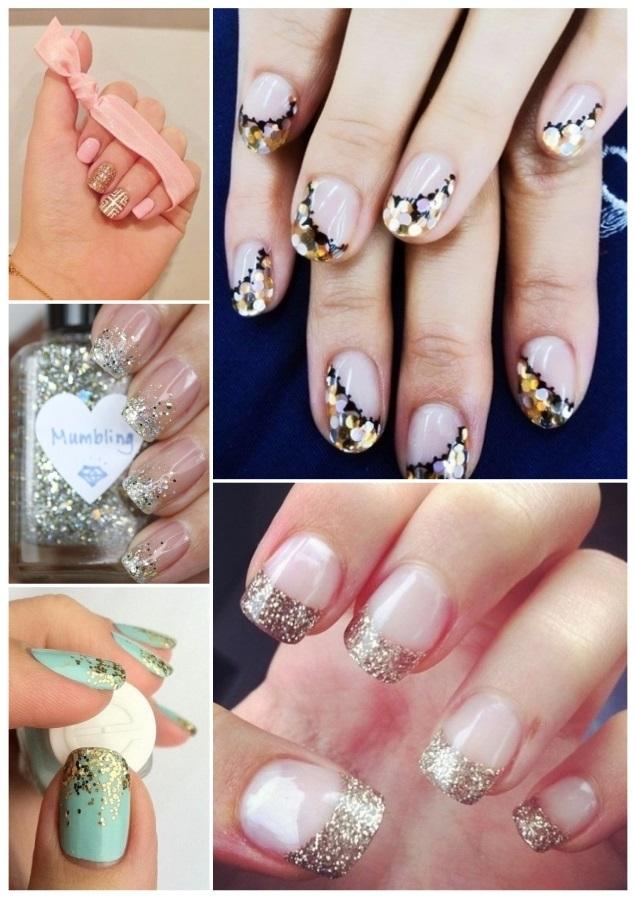 manicura con uñas doradas