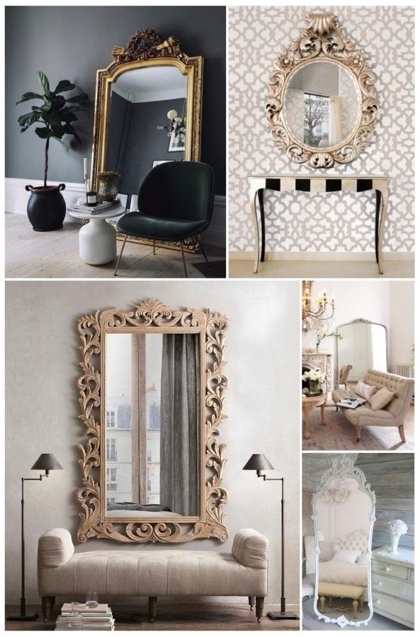 decorar con espejos dorados