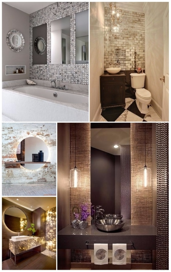 como decorar un baño pequeño con espejos