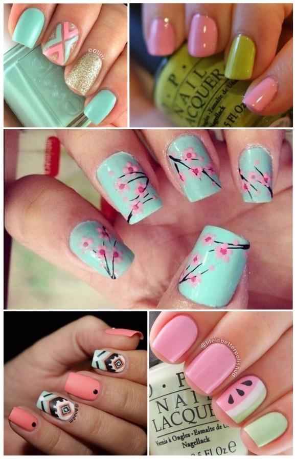 decoracion de uñas en color rosa claro