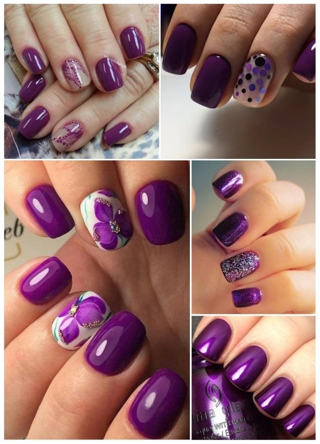 decoración de uñas moradas bonitas
